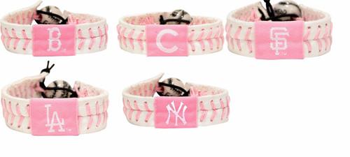 Official MLB Leather Baseball Seam Bracelet Pink Cancer Color Choose Your Team