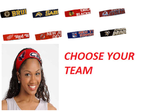 NHL JERSEY FANBANDS ASSORTED TEAMS CHOOSE YOUR TEAM HEAD BAND FANBAND