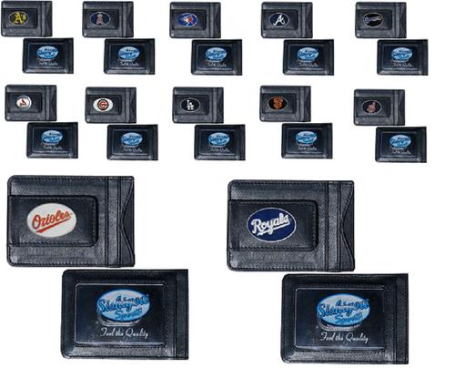 Offically Licensed MLB Baseball Leather Money Clip Card Holder Choose Your Team