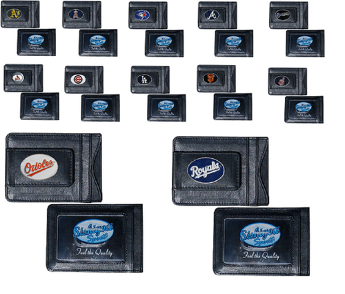 Offically Licensed MLB Baseball Leather Money Clip Card Holder Choose Your Team
