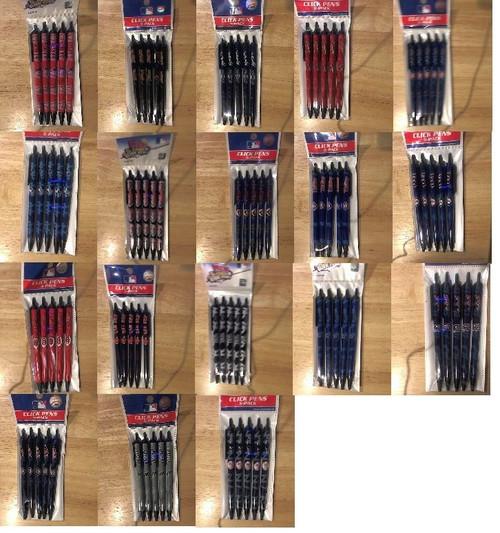 MLB Official Licensed Click Pens 5 pack Black Ink Choose Your Team