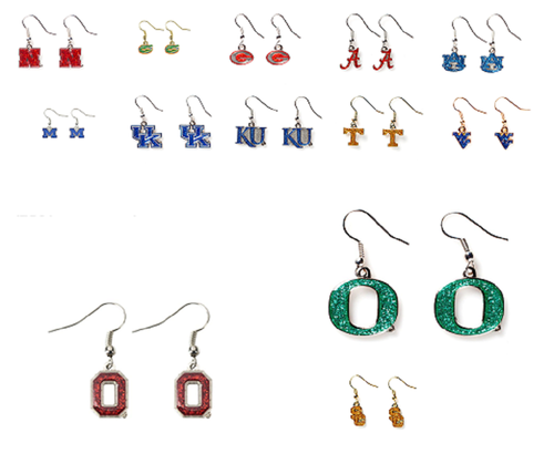 NCAA Glitter Dangle Earrings Pick Your Team