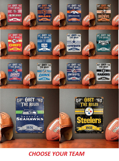 Officially Licensed NFL Embossed Vintage Metal Signs