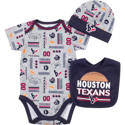 NFL Houston Texans Bodysuit, Bib & Hat Set Infant/Toddler Choose Your Size