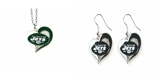Officially Licensed Swirl Heart Necklace and Earring Set Choose Your Team