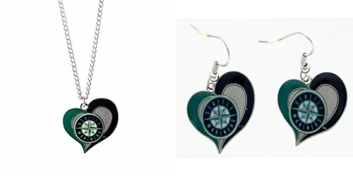 Officially Licensed MLB Swirl Heart Necklace and Earring Set Choose Your Team