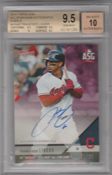 2018 Topps Now Francisco Lindor AUTO 6/25 BGS 9.5 Cleveland Indians
