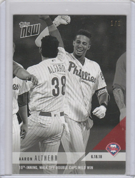 2018 Topps Now Platinum B&W #340BW Aaron Althera Phillies 1/1
