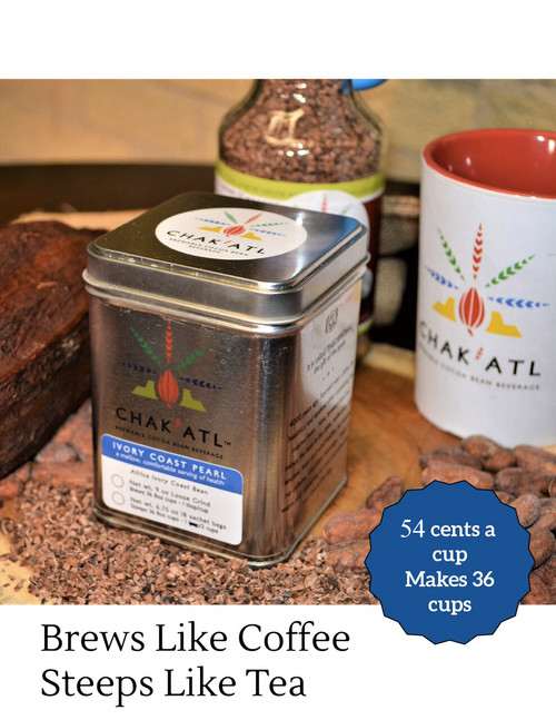 Ivory Coast Pearl Cocoa Bean Grind - 9 ounces in Metal Tin - Makes 36 servings of hot cocoa bean beverage Brew Like Coffee or Steep in a French Press like Tea.  This tin hold 9 ounces that makes about 36 servings at 54 cents a serving.