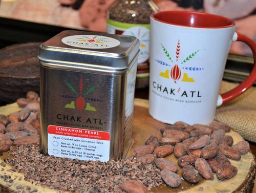 CHAK'ATL - Cinnamon Pearl - Cocoa Bean Grind - 9 oz - serves 36 Metal Tin