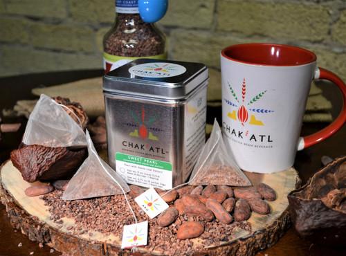 Chak'Atl - Sweet Pearl - Cocoa Bean Sachet - 18 Sachets - serves 36 - 8 ounce cups Metal Tin