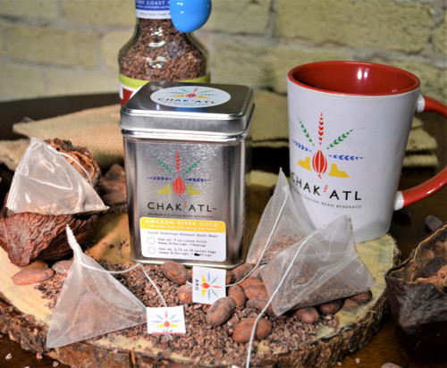 Chak'Atl - Amazon River Gold - Cocoa Bean Sachets - 18 sachets serves 36 8 ounce cups. Each sachet makes 2 servings.