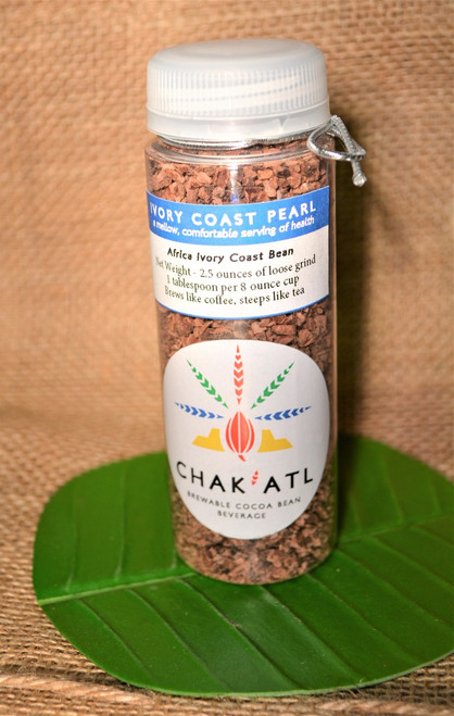 Ivory Coast Pearl Cocoa Bean Grind - 2.5 ounces  - Makes 10 servings of hot cocoa bean beverage Brew Like Coffee or Steep in a French Press like Tea.  This container holds 2.5 ounces that makes about 10 servings at 65 cents a serving.