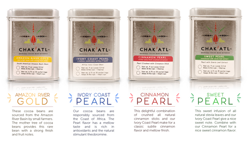 Amazon River Gold Ivory Coast Pearl Cinnamon - Ivory Coast Pearl with crushed cinnamon stick Sweet Pearl Ivory Coast Pearl with Stevia leaf extract   Use 1 tablespoon loose Cocoa Bean Grind per 8oz cup of water. Each individual package makes approximately 36 cups of each Chak'Atl flavor. Brews like coffee or steeps like tea.