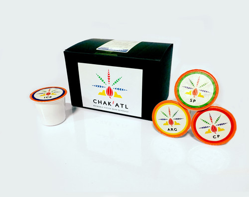 Chak'Atl put into K-CUPs for fast brewing. This mellow drink bring you all the health benefits of chocolate without the calories or sugars.  1 Box has 12 K-CUPS ready for use.   Flavors: Amazon River Gold Ivory Coast Pearl Cinnamon - Ivory Coast Pearl with crushed cinnamon stick Sweet Pearl Ivory Coast Pearl with Stevia leaf extract