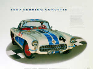 57 CORVETTE SEBRING SCREENLESS LITHOGRAPH