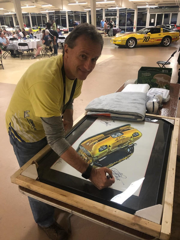 """ANDY PILGRIM SIGNING """"THE LAST CORVETTE DALE RACED"""" GICLEE PREVIOUSLY SIGNED BY DALE EARNHARDT JR. OWNED BY LANCE MILLER OF CARLISLEEVENTS.COM"""