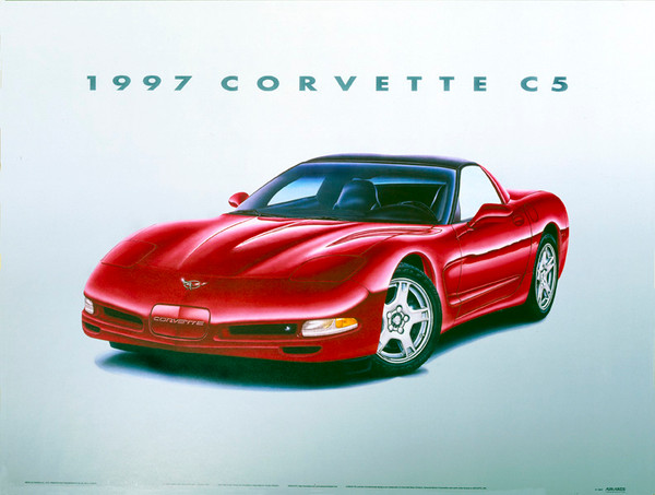 97 CORVETTE C5 SCREENLESS LITHOGRAPH