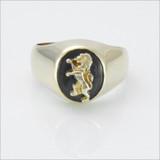 ΔΚΕ Small Comstock Onyx Ring with Lion