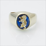 ΔΚΕ Small Comstock Blue Spinel Ring with Lion
