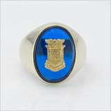 ΔΚΕ Oval Blue Spinel Crest Ring