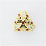 ΣΦΔ Crown Set Pearl Badge with Rubies