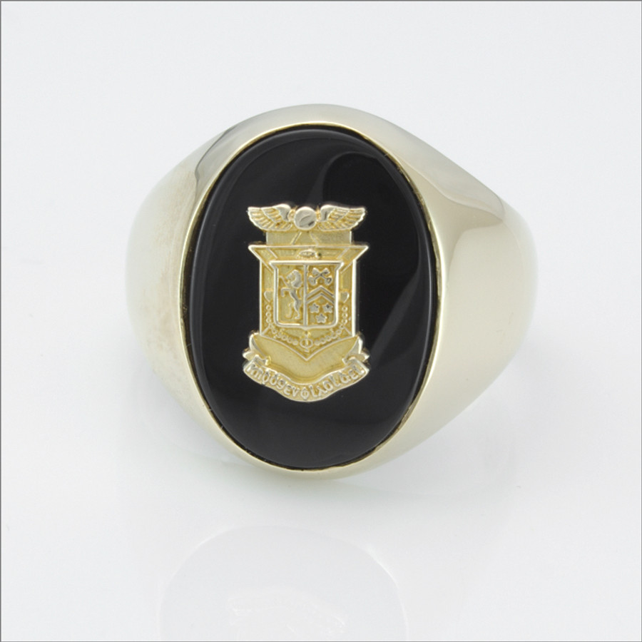 ΔKE Oval Black Onyx Crest Ring