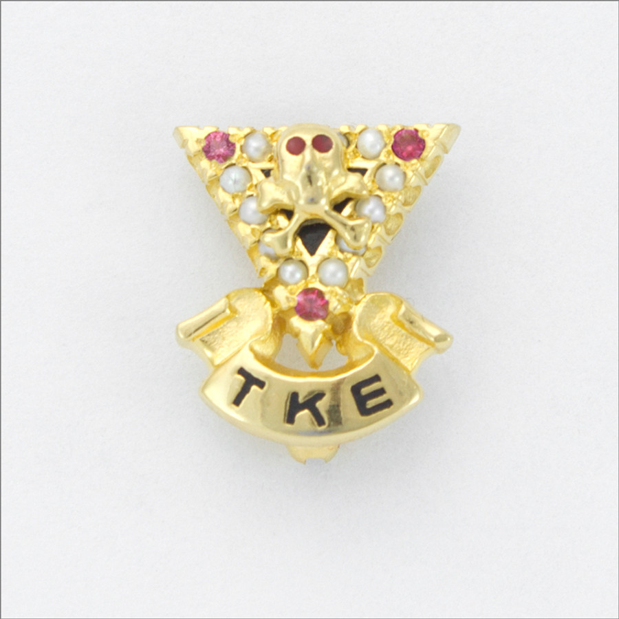 TKE Official Crown Pearl Badge with Synthetic Ruby Points