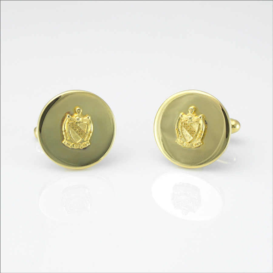 """TKE ¾"""" Polished Cufflinks with Coat of Arms"""