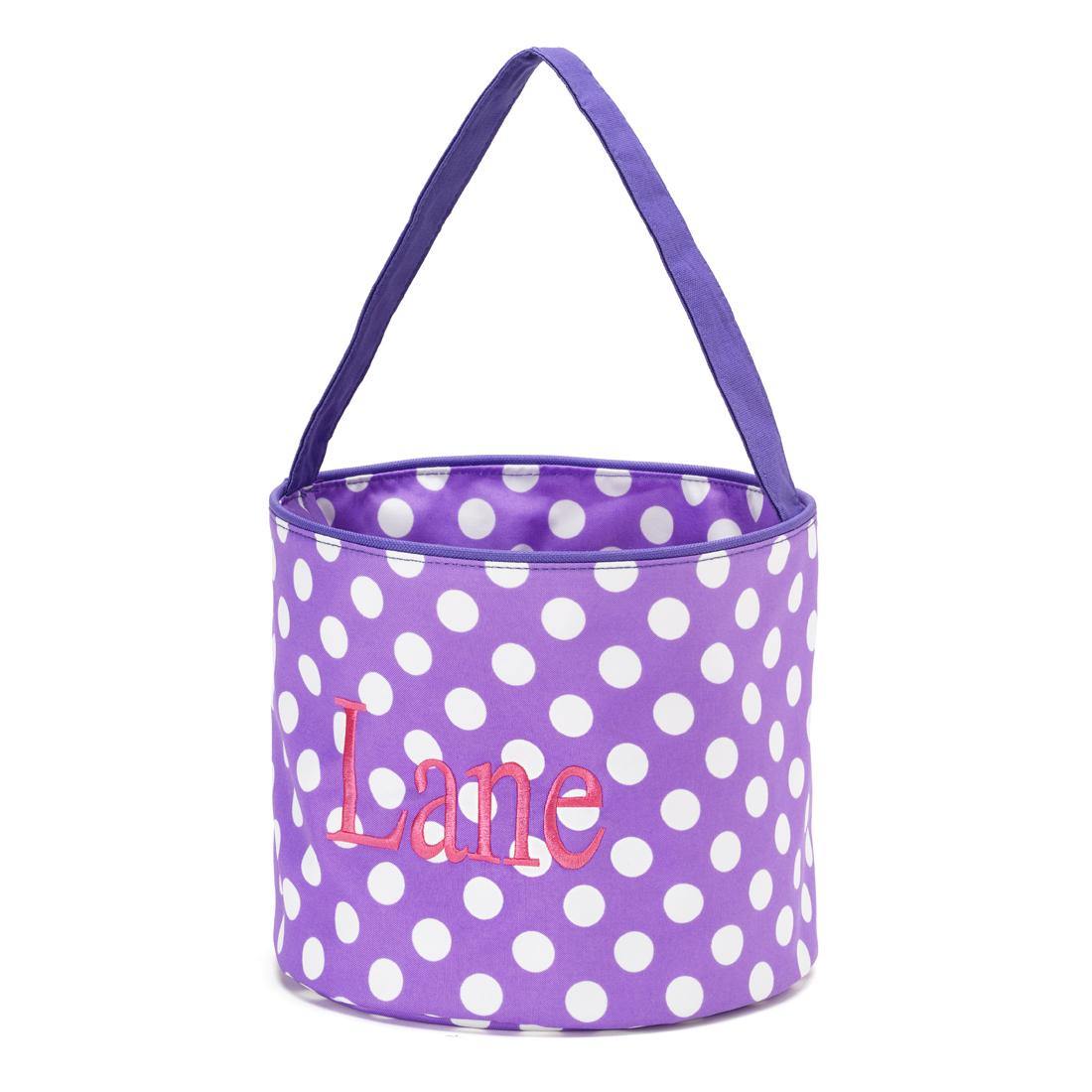 Polka Dot Bucket - Purple and White
