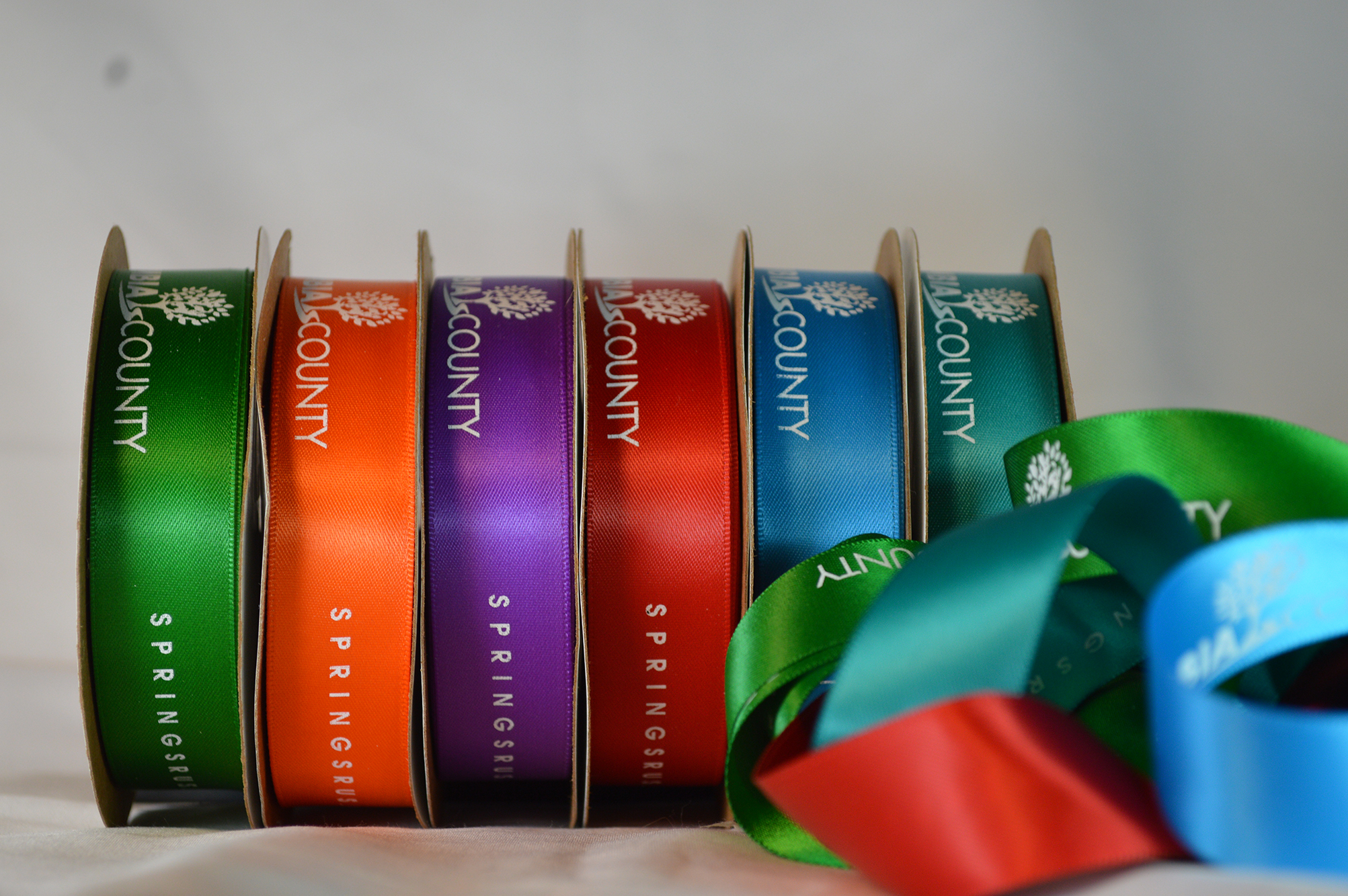 Colors Ribbon with logo on it.  Color Ribbon Printing , Custom Logo Ribbon