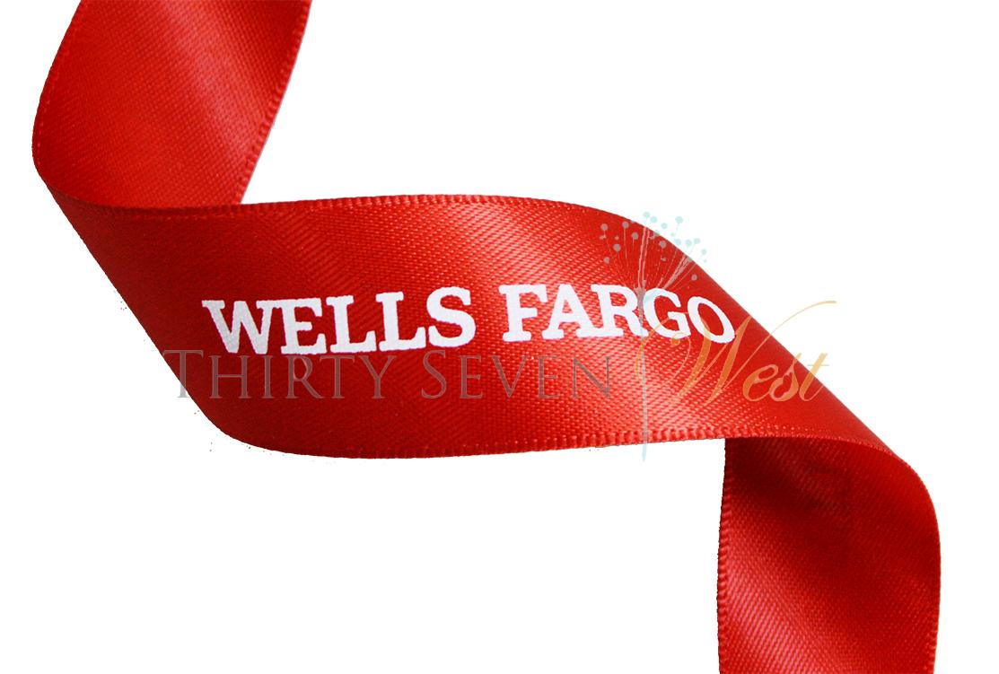 Red Printed Ribbon, Logo Ribbon, Custom Logo Ribbon, Printed Ribbon, Satin Logo Ribbon, Branded Ribbon