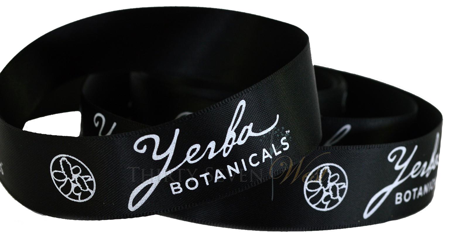 Custom Logo Ribbon,  Luxury Double face Satin ribbon, Branding Ribbon, Yerba Botanical Ribbon