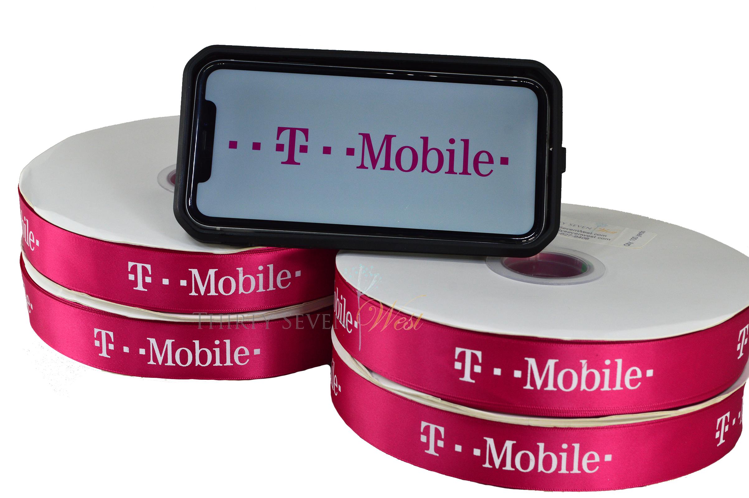 T-Mobile Ribbon, Company Logo Ribbon, Logo Ribbon, Custom Logo Ribbon, Branded Ribbon.