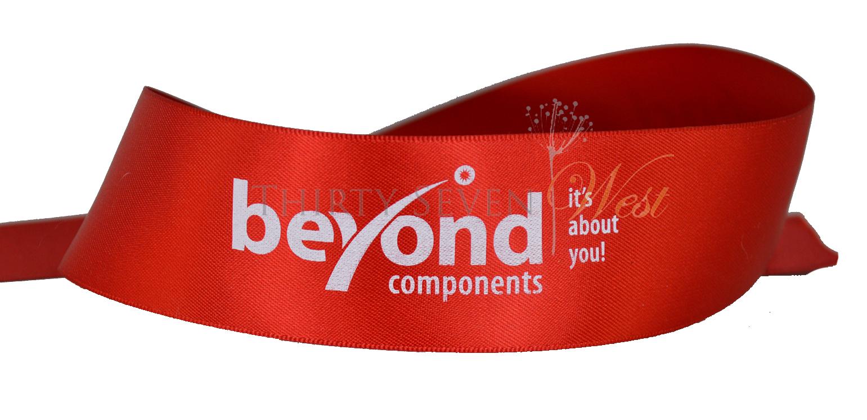 "1 1/2"" Custom Logo Ribbon with white print, Logo Ribbon, Branding Ribbon, Satin Logo Ribbon"