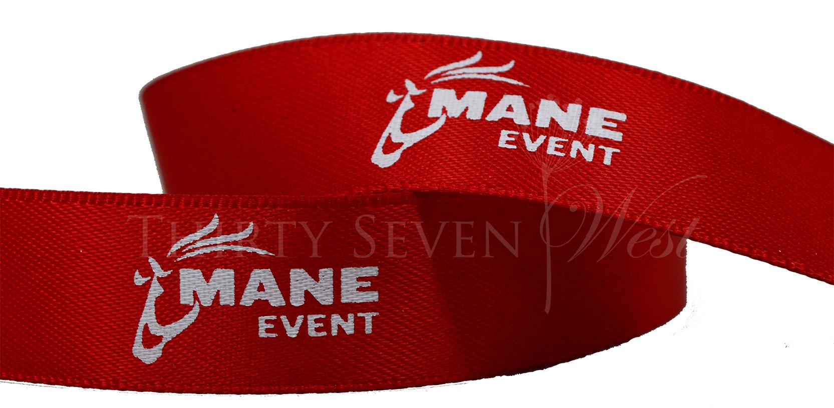 Mane Ribbon, Red Ribbon with white print, Custom logo Ribbon, Logo Ribbon