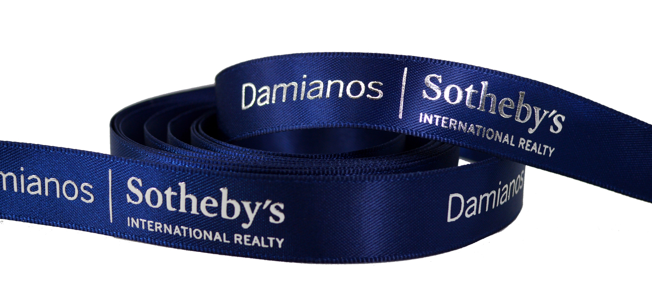Sotheby's Custom Logo Satin Ribbon with Raised Metallic Print