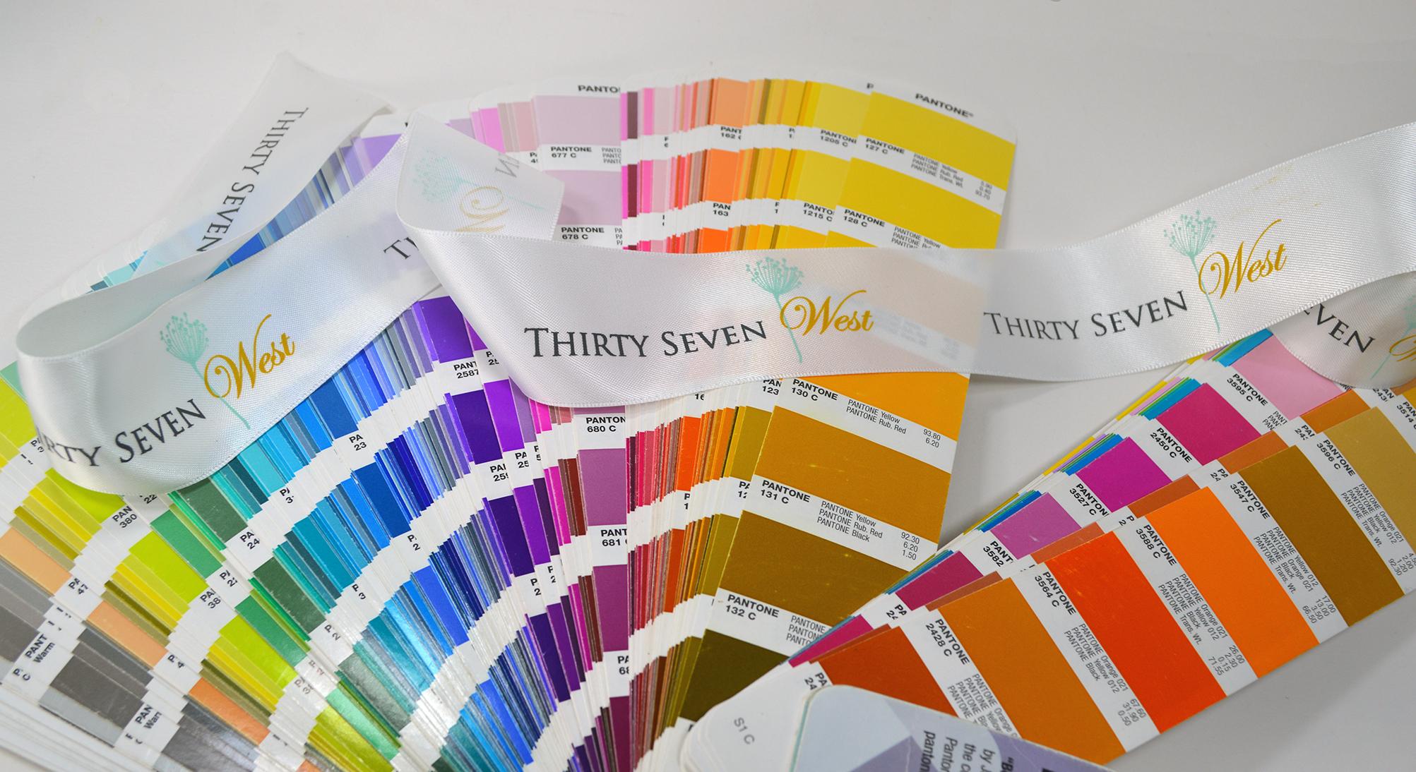 Pantone Matched Ribbon, PMS Ribbon, Pantone Color Ribbon, Custom Pantone Ribbon