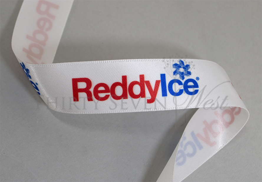 Pantone Matched Logo Ribbon,  Printed Ribbon with pantone colors, Custom Logo Ribbon, PMS Logo Ribbon, Branded Ribbon, Custom Ribbon Printing, Red Printed on Ribbon, Blue Printed on Ribbon, White Satin Ribbon, Satin Ribbon, Multicolor Logo RIbbon, Full Color Logo Ribbon