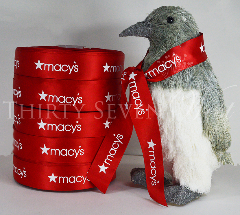 Macys Ribbon, Logo Ribbon, Pantone Color Matched Ribbon, Printed Logo Ribbon, Company Logo Ribbon.