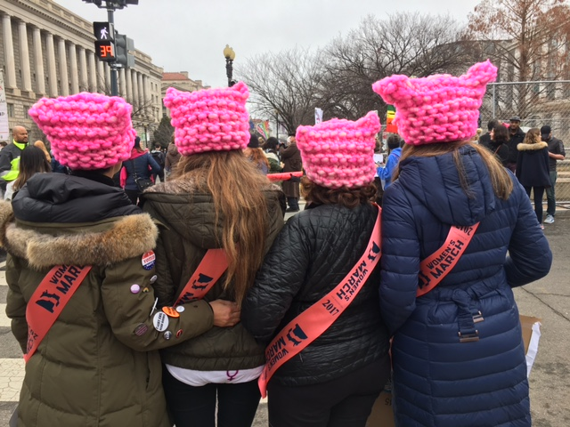 Women's March on Washington 21, 2017, In DC. Group from PA proudly wearing their sashes and pink pussy hats