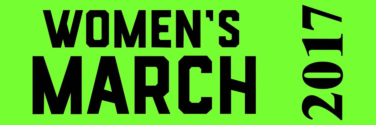 Women's March on Washington Ribbon for Sashes - black print on green ribbon