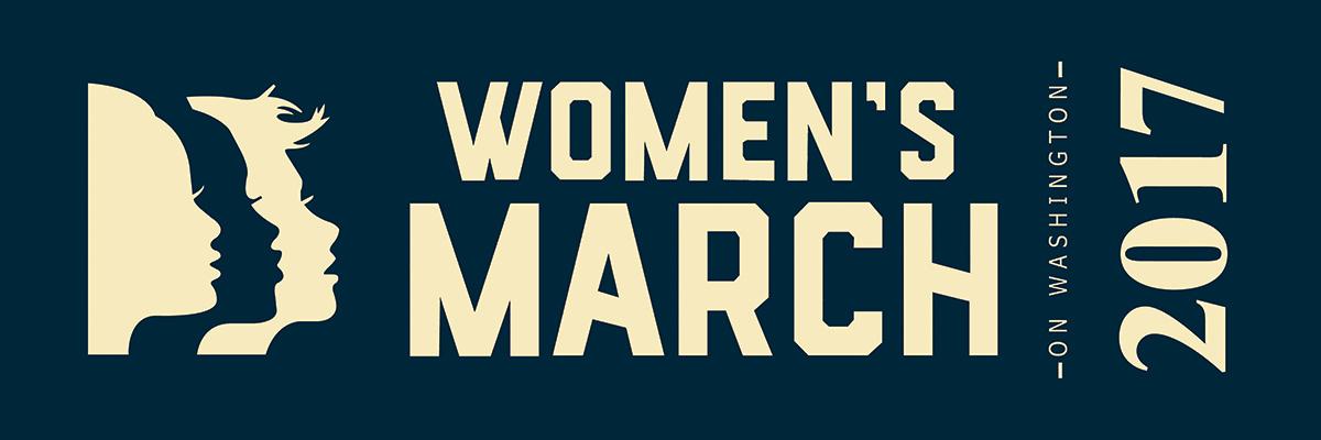 Women's March on Washington Ribbon for Sashes - Cream Print on Navy Ribbon