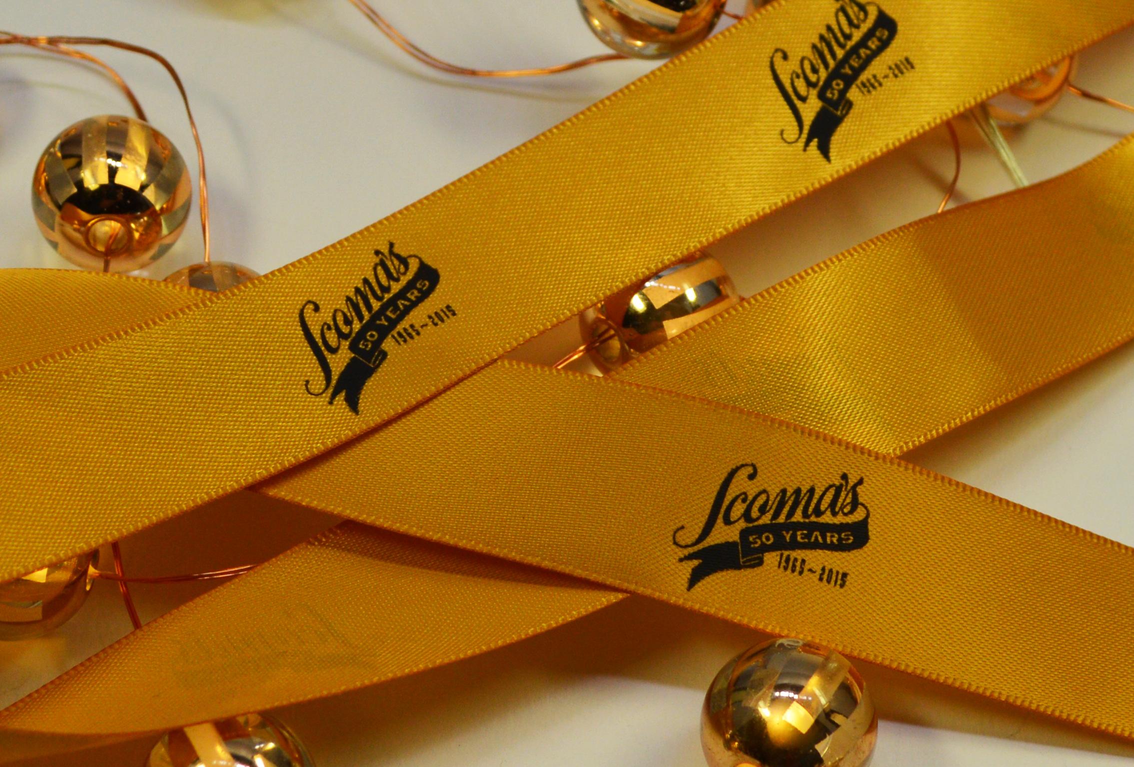 Yellow Ribbon with Black Print, Custom logo Ribbon, Printed Ribbon, Branding Ribbon