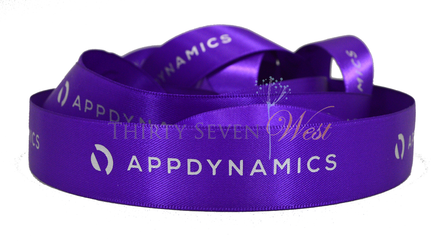 Matte Printed Logo Ribbon, Custom Logo Ribbon, Purple Ribbon,  Logo Ribbon