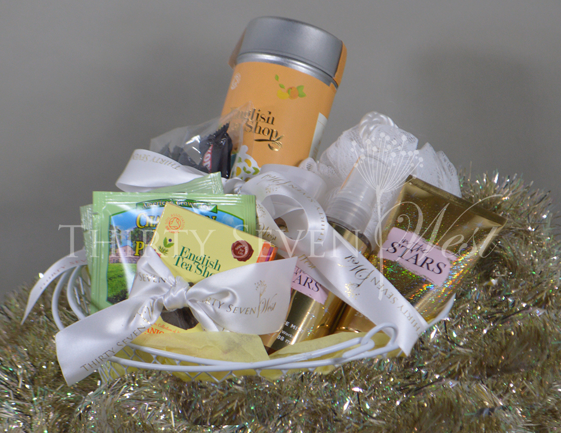 Gift Baskets with Logo Ribbon, Baskets with Custom Logo Ribbon, Baskets for Corporate Event with Ribbon Printed, Gifts Baskets with Satin Logo Ribbon,  Satin Logo Ribbon on Gift Baskets