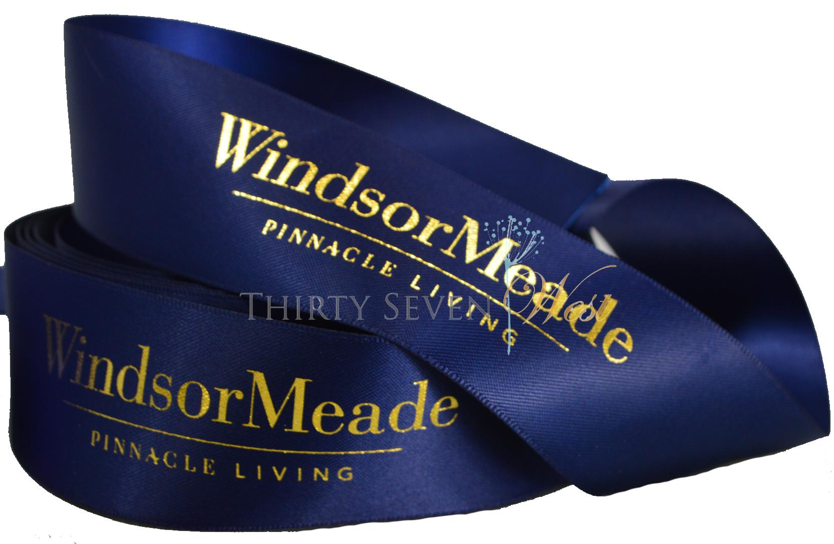 Metallic Print Ribbon, Custom Logo RIbbon, Blue Ribbon Printing, Logo Printed Ribbon, Logo Ribbon, Customized Ribbon with logo