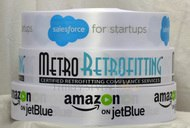 Cinta Multicolor Personalizada, Cinta con Logotipo de Empresas, Salesforce, Metro Retrofitting, Amazon on Jet Blue