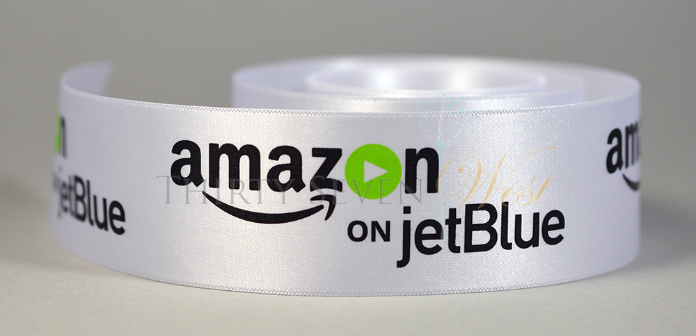 Multi Color Logo Ribbon, Full Color Logo Ribbon,  Pantone Color Logo Ribbon, PMS Color Logo Ribbon, Multi Color Custom Ribbon, Ultra-sheen white logo ribbon, Amazon on jetBlue