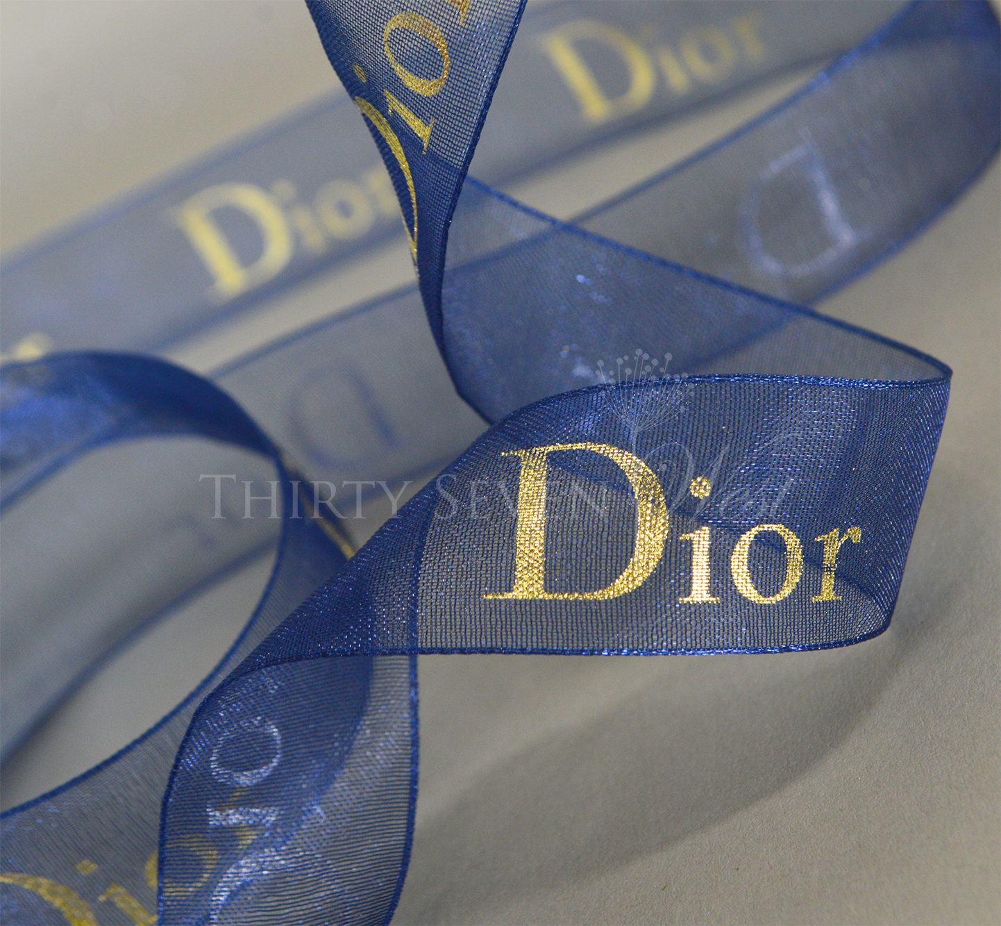 Blue Organza Ribbon, Logo Ribbon, Custom Logo RIbbon, Gold Print on Organza Ribbon, Custom Ribbon, Logo on RIbbon.